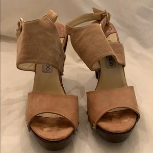 Tan suede and natural leather sandals